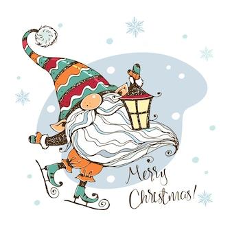 Kerstkaart met een schattige noorse kabouter met een lantaarn die schaatst