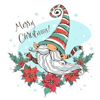 Kerstkaart met een schattige scandinavische kabouter met een krans van poinsettiabloemen. doodle stijl.