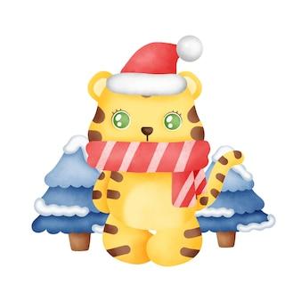 Kerstkaart met een schattige tijger in aquarelstijl.