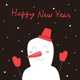 Kerstkaart met een sneeuwpop en belettering. tegen een donkere achtergrond steekt een vrolijk personage zijn handen op. het sneeuwt. vector illustratie.