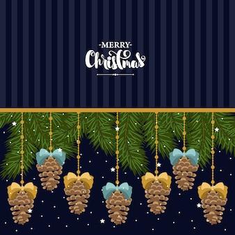 Kerstkaart met elementen van kerstmis.