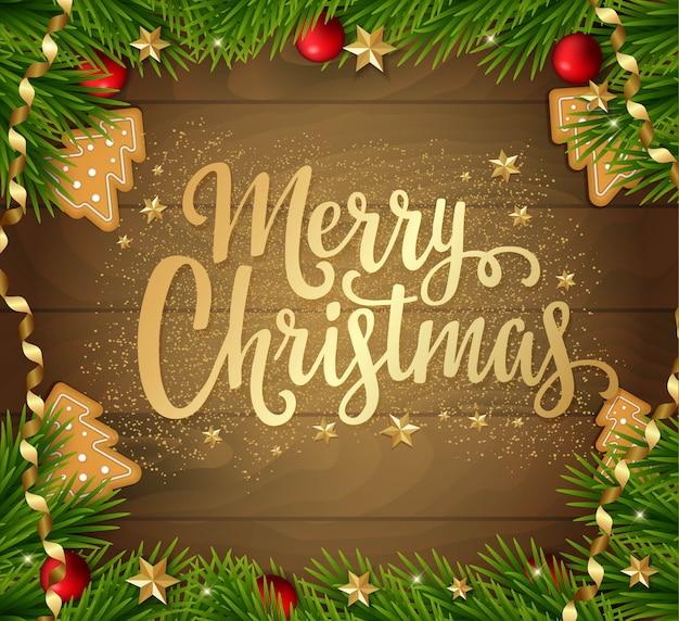 Kerstkaart met fir tree, decoraties en belettering.