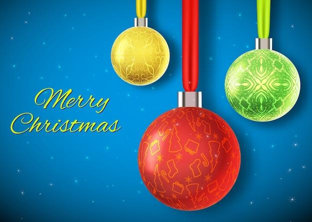 Kerstkaart met gele kerstbal drie kleurrijke gloeiende kerstballen