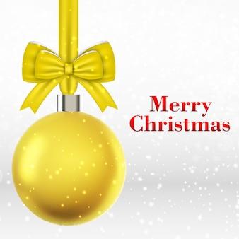 Kerstkaart met gele kerstbal