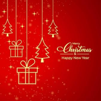Kerstkaart met geschenken en gouden dennenboom icoon. kerstbanner op een luxe rode achtergrond. kerstcadeaukaart met gouden elementen en rode achtergrond. xmas social media postontwerp.