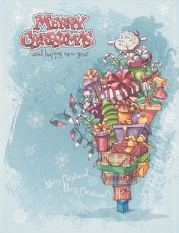 Kerstkaart met geschenken, speelgoed, lam, kerstklokken, dozen