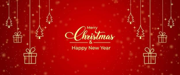 Kerstkaart met gouden geschenkdoos, gouden dennenboom icoon. glanzende rode achtergrond kerst banner. kerstcadeaukaart met gouden pictogramelementen en rode achtergrond. xmas social media postontwerp.