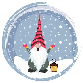 Kerstkaart met grappige kabouter