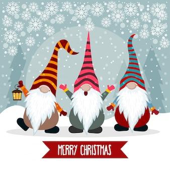 Kerstkaart met grappige kabouters