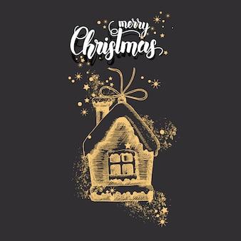 Kerstkaart met hand getrokken doodle gouden kerst huis en glitter.