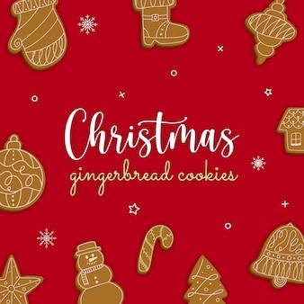 Kerstkaart met heerlijke peperkoekkoekjes op rode achtergrond