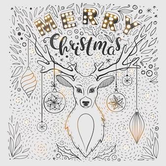 Kerstkaart met herten en met de hand getekende letters vector kerstwenskaart met herten