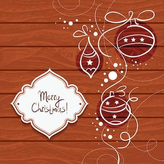 Kerstkaart met houten achtergrond