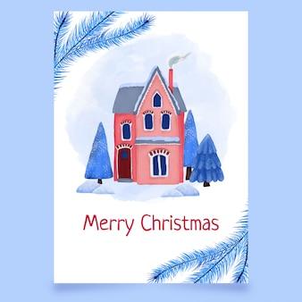 Kerstkaart met huis en winter bomen