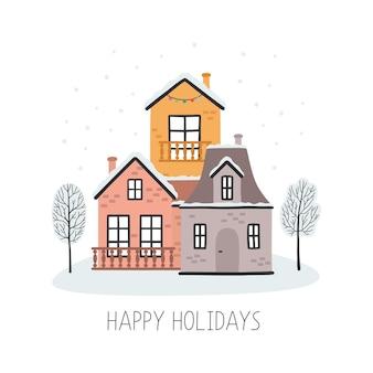 Kerstkaart met huizen prettige feestdagen