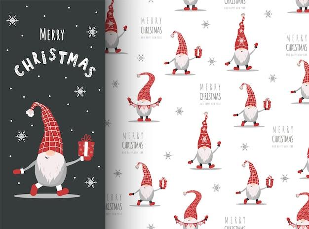 Kerstkaart met kabouter in rode hoed. leuke skandinavische elfen op naadloos patroon.