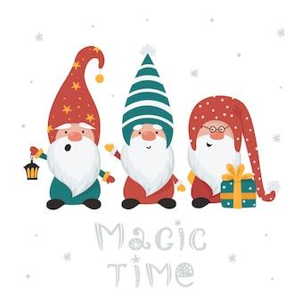 Kerstkaart met kabouters. illustratie voor wenskaarten, kerstuitnodigingen en t-shirts
