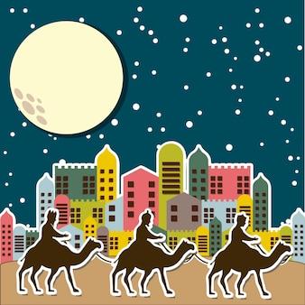 Kerstkaart met kamelen over nacht vectorillustratie