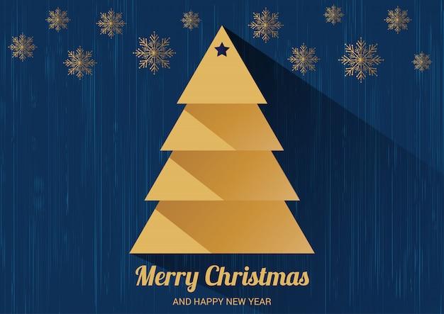 Kerstkaart met kerstboom. plat ontwerp