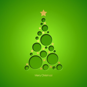 Kerstkaart met kerstboom. vectorillustratie eps 10