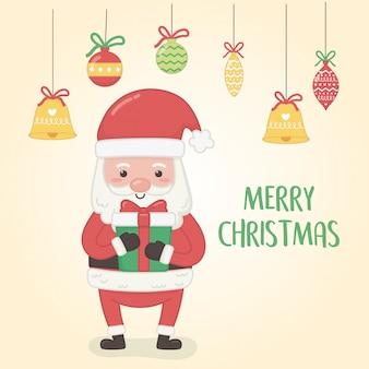 Kerstkaart met kerstman en ballen opknoping