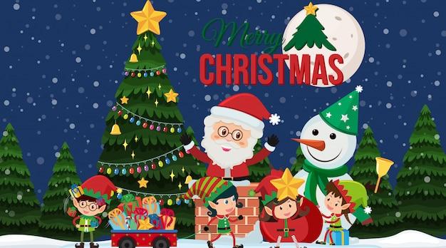 Kerstkaart met kerstman en kerstboom