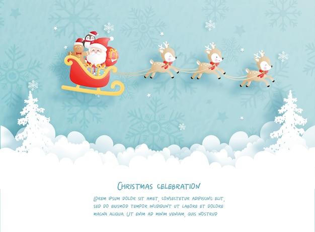 Kerstkaart met kerstman en rendieren