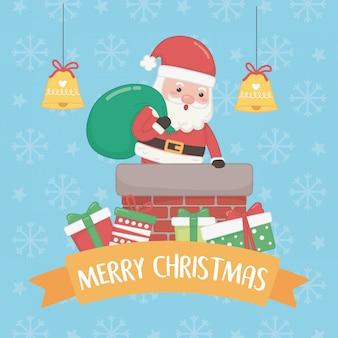 Kerstkaart met kerstman en tas inn schoorsteen