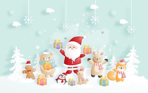 Kerstkaart met kerstman en vrienden.