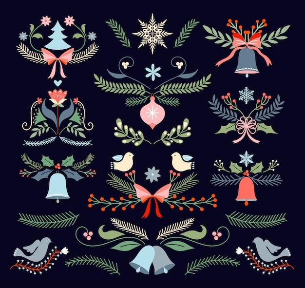 Kerstkaart met lama en seizoensgebonden elementen,