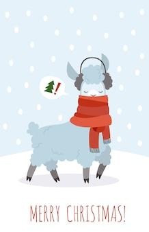 Kerstkaart met lama illustratie