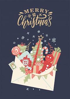 Kerstkaart met open envelop met geschenkdozen, boog, snoepgoed, kerstboom