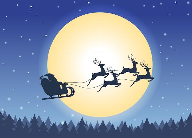 Kerstkaart met santa claus vliegen op een slee
