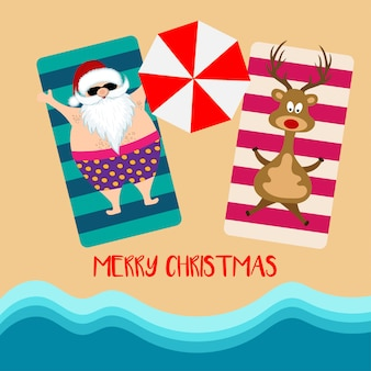 Kerstkaart met santa en rendier op strand
