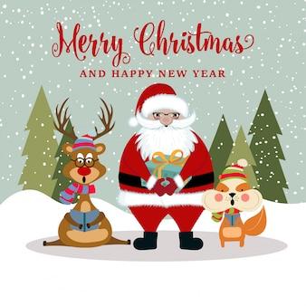 Kerstkaart met santa, rendier en eekhoorn