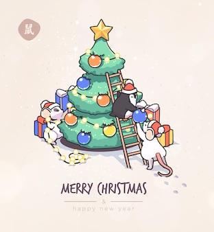 Kerstkaart met schattige cartoonmuizen in vector grappig en gelukkig nieuwjaar van muis of rat