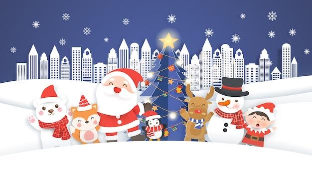 Kerstkaart met schattige kerstman en vrienden in de stad. papier gesneden stijl.
