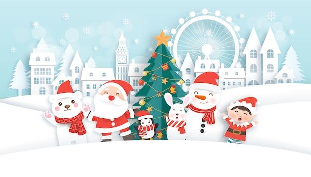 Kerstkaart met schattige kerstman en vrienden in het sneeuwdorp. papier gesneden stijl.