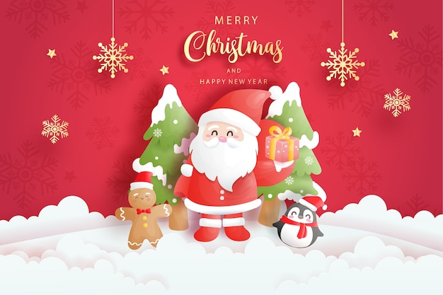 Kerstkaart met schattige kerstman