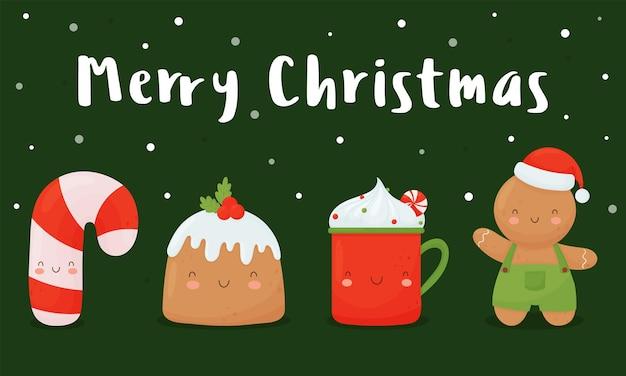 Kerstkaart met schattige personages, snoepgoed, gemberman, beker en kersttaart op een groene achtergrond.
