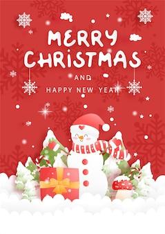 Kerstkaart met schattige sneeuwpop en champignons, papier gesneden illustratie