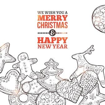 Kerstkaart met set van peperkoek en typografie in schets hand getrokken stijl