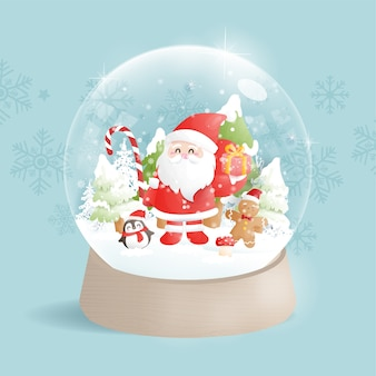 Kerstkaart met sneeuwbol en kerstman