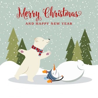 Kerstkaart met sneeuwman en ijsbeer