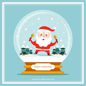 Kerstkaart met sneeuwman met mooie kerstman