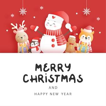 Kerstkaart met sneeuwpop en vrienden