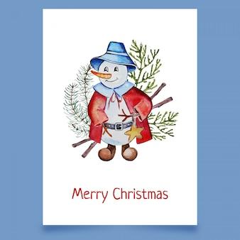 Kerstkaart met sneeuwpop in hoed en jas