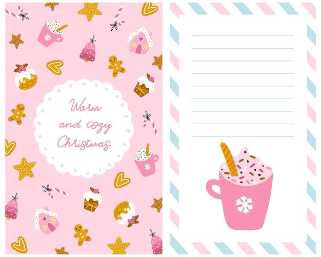 Kerstkaart met snoep. handgetekende illustratie van cupcakes, peperkoekkoekjes in verschillende vormen en vormen, versierd voor de feestdagen. leuk pastelkleurpalet.