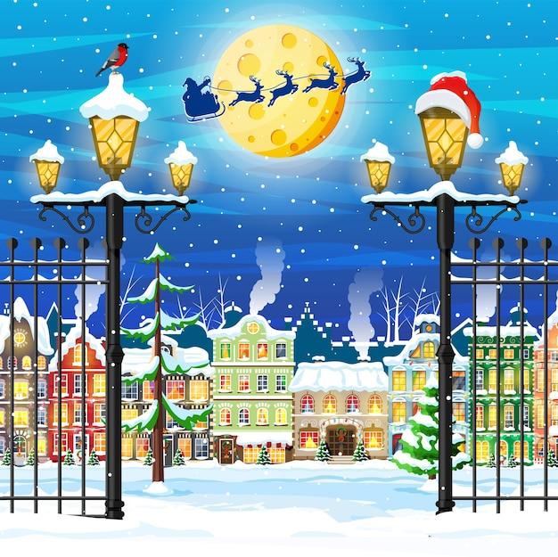 Kerstkaart met stedelijk landschap en sneeuwval. stadsgezicht met kleurrijke huizen met sneeuw in de nacht. winterdorp, gezellig stadspanorama. nieuwjaar kerstmis xmas banner. platte vectorillustratie