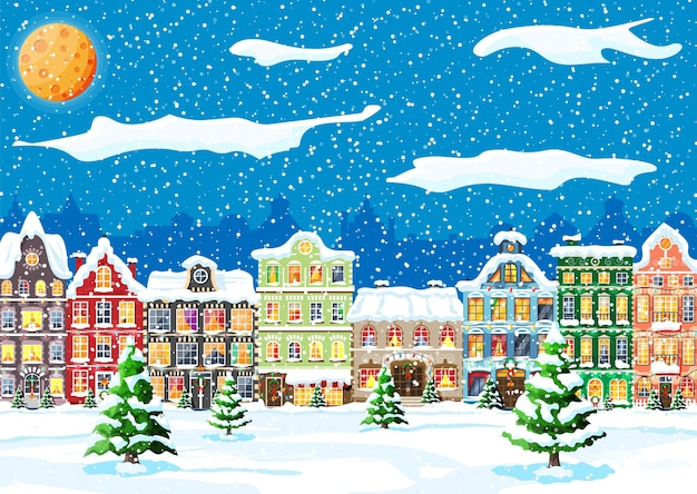 Kerstkaart met stedelijk landschap en sneeuwval.